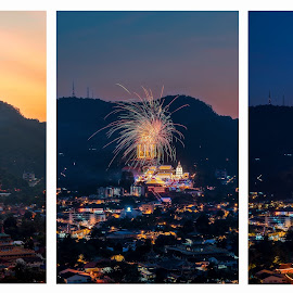 Kek Lok Si Day And Night by Ah Wei (Lung Wei) - Digital Art Places ( nikon af-s 24-70mm f/2.8 g ed, kek lok si temple, firework, night scene, george town, blue hour, miao xiang lin temple, malaysia, penang island, miao xiang lin, frontground, landscape, temple, george town penang, ah wei (lung wei), nikon d750, 24-70mm f2.8, pulau pinang, penang, nikon, nikon 24-70mm f2.8g, kek lok si )