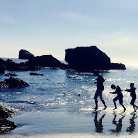 Me and my sons! by Omid Miri - People Family ( ocean, son, beach, single dad, father )