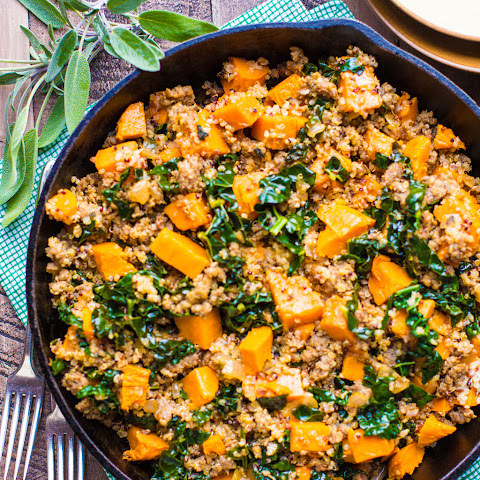 Roasted Sweet Potato, Sausage, & Quinoa Skillet