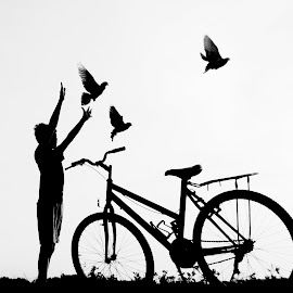 free by Andy Moerijanto - People Street & Candids ( pigeon, bicycles, black and white, silhouette, kids )