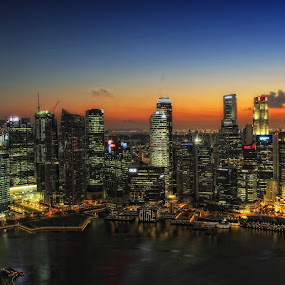 Singapore City's Sunset by Al Afyz - City,  Street & Park  Vistas