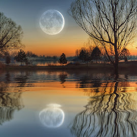 Moon over the water by Dunja Milosic Odobasic - Digital Art Places (  )