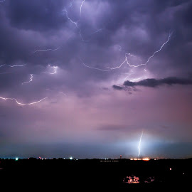Lightning strikes the airport by Dale Foshe - Landscapes Weather ( strike, sky, thunderstorm, lighting, night, storm )