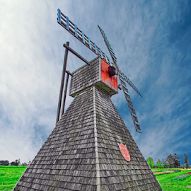 by Dipali S - Buildings & Architecture Other Exteriors ( old, rotate, wheel, landscape, historic, farm, operation, mill, sky, rotation, tradition, power, blow, water, wind, picturesque, grass, windy, vintage, green, horizon, tourism, scenic, machine, canal, rural, history, michigan, landmark, tourist, blades, holland, runs, historical, rotated )