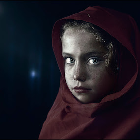 by Adrian Chinery - Babies & Children Child Portraits ( hoodie, girl, forrest, red, wolf, tale, riding, grimm, dark, fairy, night, hood )