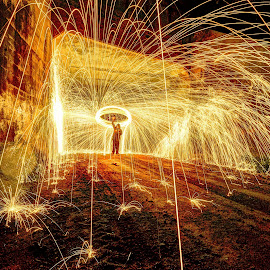 Thor by Derrill Grabenstein - Abstract Light Painting ( light streaks, light painting, long exposure, sparks )