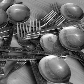 table setting by Judith Matthews - Artistic Objects Cups, Plates & Utensils ( forks, spoons, metal, cutlery, knifes )