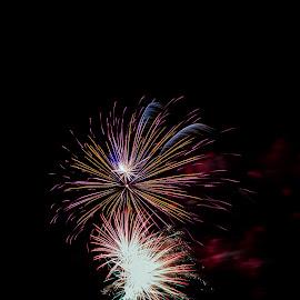 31122017_3754 by Deborah Bisley - Abstract Fire & Fireworks ( water, colour, sea, fireworks, ocean, beach, light )