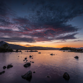 The sky. by Haim Rosenfeld - Landscapes Waterscapes ( exposure, scotland, stream, old, mountain, europe, scape, colorful, land, stone, rock, flow, beauty, landscape, long, shot, sky, tree, kingdom, movement, foreground, water, clouds, united, uk, purple, colors, green, scottish, atmosphere, image, lake, scenic, highlands, morning, photo, dusk, picture, great, sunset, outdoor, scene, moody, brown, view, scenery, milky, britain )