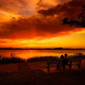 Summer's Last Hurrah by Linda Karlin - Landscapes Sunsets & Sunrises ( nature, sunset, landscape )