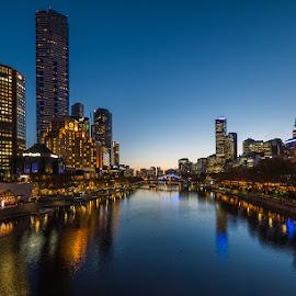 Melbourne at night by David Haykazyan - City,  Street & Park  Skylines ( skyline, melbourne, australia, night, city )