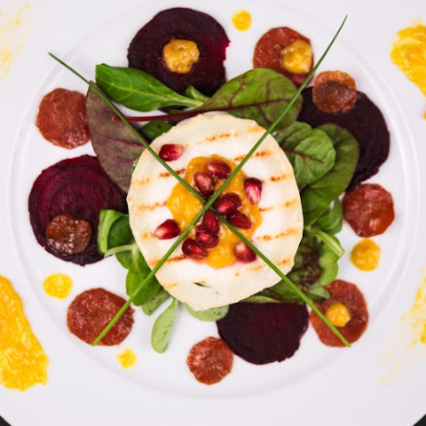 Grilled Goats Cheese with Mango Sauce, Beets and Caramelised Carrots