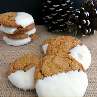 White Chocolate Dipped Ginger Snap Cookies