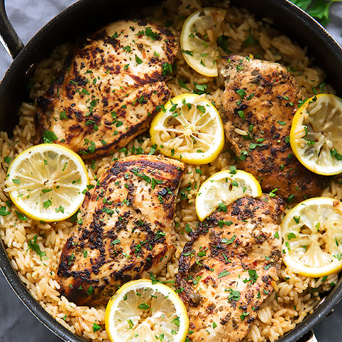 One Pot Greek Chicken and Rice Pilaf