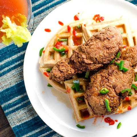 Bloody Mary infused Fried Chicken and Waffles