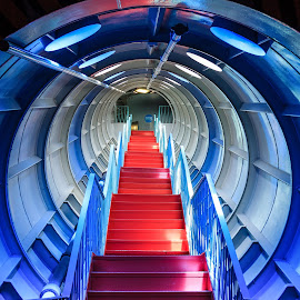 Stairs Up by Dmitriy Andreyev - Buildings & Architecture Other Interior ( red, stairs, blue )