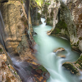 River Soca Great Gorge by Ziga Camernik - Landscapes Waterscapes ( water, europe, great, gorge, slovenia, landscape, river )
