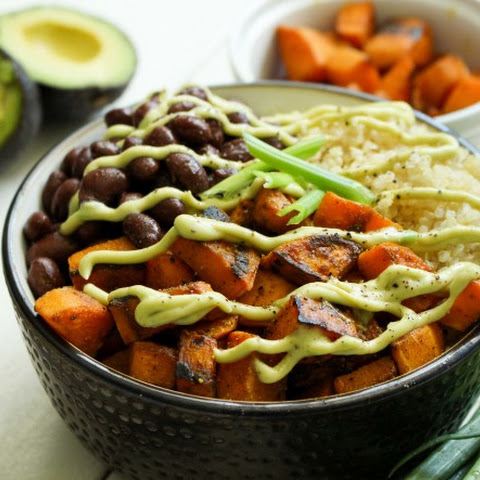 Quinoa Bowl with Sweet Potatoes and Avocado Cream