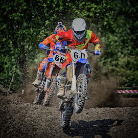 60 Chased By 66 by Marco Bertamé - Sports & Fitness Motorsports ( 66, motocross, chasing, speed, dust, clumps, number, 60, duel, race, jump, noise, competition )