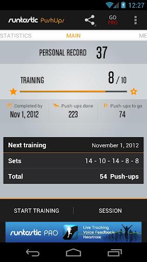 Runtastic Push-Ups Counter & Exercises screenshot 1