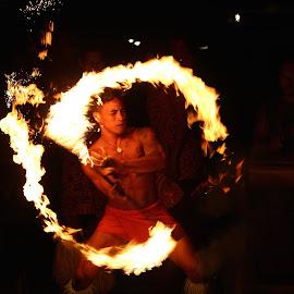 Fia Fia Samoa by Andrew Pendergrast - People Portraits of Men ( performance, tribal, samoa, fire, man )