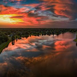 Sunset over the Lake by Anthony Pollard - Landscapes Sunsets & Sunrises ( reflection, nature, sunset, lake, colorful )