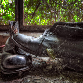 Lost boots by Sandro Ortolani - Artistic Objects Clothing & Accessories ( urbex, lost, hdr, spexs, abandoned, luxembourg, decay )