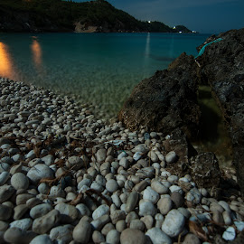 Night at Ag. Eleousa by Grigoris Koulouriotis - Landscapes Beaches ( beach, rocks, nightscape )