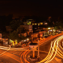 A busy night scence of a traffic point in Tinsukia City of Assam India. by Arunav Dutta - City,  Street & Park  Street Scenes ( #tinsukia, #lighttrails #cityscape  #traffic #nightlife #assam #india )