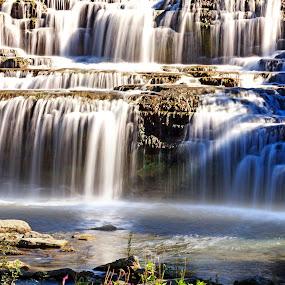 Multiple Falls by Sandra Hilton Wagner - Landscapes Waterscapes ( water, waterfalls, waterscape, flowing, waterfall, waterlake, landscape, pool, movement, sunrays, summer, rocks, light,  )