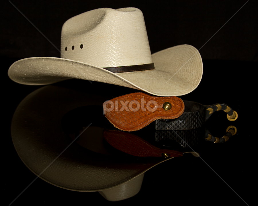 Hat and Spurs by SumPics Photography - Artistic Objects Other Objects ( cowboy hat, spurs, white hat, gold, leather, straw hat, black, hat )