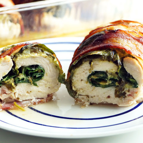 Bacon-Wrapped Chicken Stuffed with Guacamole and Greens (AIP, Paleo)