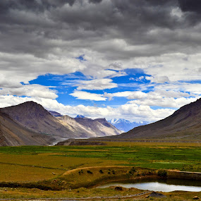 Spiti valley  by Akash Deep - Landscapes Mountains & Hills ( clouds, cloudy day, mountains, spiti, small lake, landscape, himalayas )