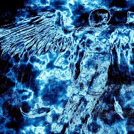 Chalk art, fallin angel feathers by Mark Sarden - Digital Art Things ( angel feathers, street art, digital chalk art, feathers, digital photography, photography )