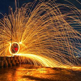 Fire Rain by Glenn WS - Abstract Light Painting ( #lighttrail, #fire, #nightscapes, #light, #lightpainting, fireworks, #night )