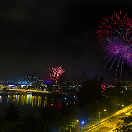 Singapore Sea Games Fireworks Rehearsal by Stephen Loke - Abstract Fire & Fireworks
