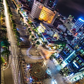 Saigon Public Central Park by Phillip Chin - Buildings & Architecture Public & Historical ( night photography, vietnam, saigon, central park, ho chi minh, nightscape )