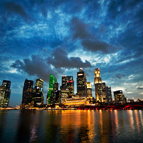 SINGAPORE @ NIGHT by Ohmz Pineda - Landscapes Weather ( water, clouds, lights, building, reflection, blue, night, city,  )