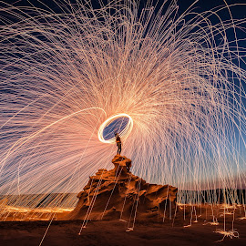 Fire on Fossil Rocks by Salman Ahmed - Abstract Fire & Fireworks ( steel wool, fossil, rocks, fire )