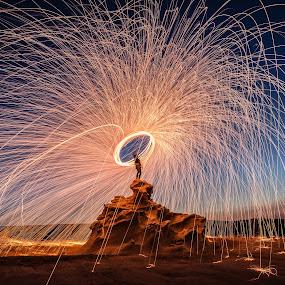 Fire on Fossil Rocks by Salman Ahmed - Abstract Fire & Fireworks ( steel wool, fossil, rocks, fire )