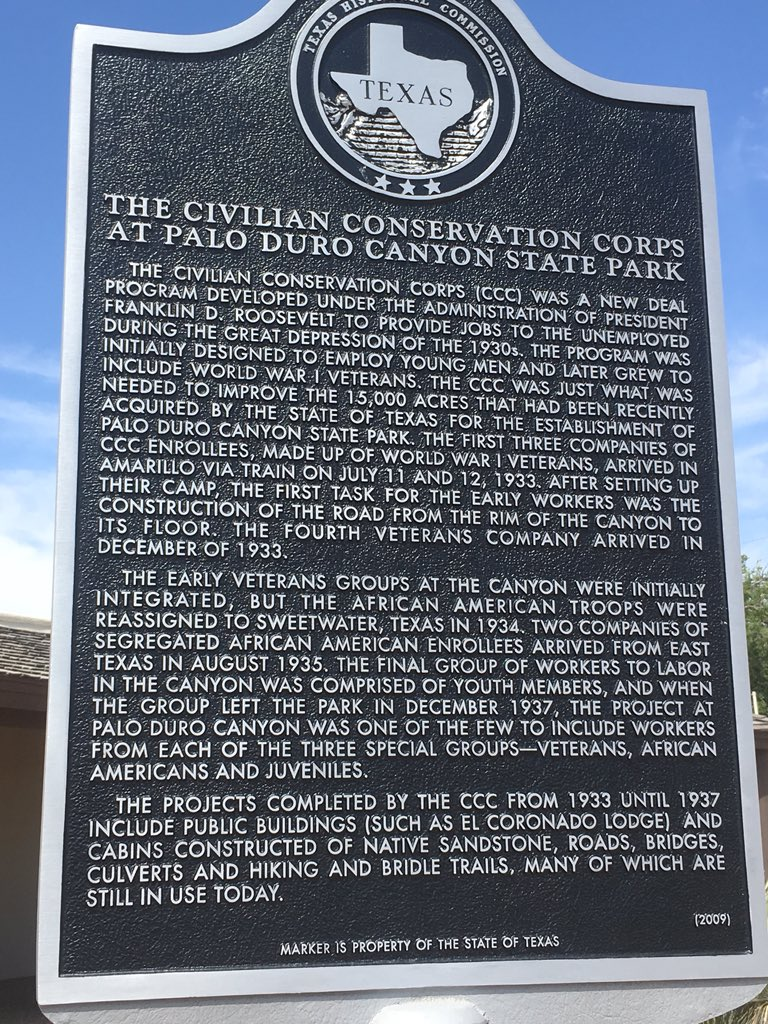 THE CIVILIAN CONSERVATION CORPS  AT PALO DURO CANYON STATE PARK  THE CIVILIAN CONSERVATION CORPS (CCC) WAS A NEW DEAL  PROGRAM DEVELOPED UNDER THE ADMINISTRATION OF PRESIDENT  FRANKLIN D. ROOSEVELT ...
