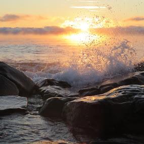 Splash of Sunrise by Alison Gimpel - Landscapes Sunsets & Sunrises ( water, winter, splash, lakes, lake superior, duluth minnesota, sunrise,  )