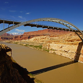 Hite Bridge by Justin Giffin - Buildings & Architecture Bridges & Suspended Structures ( utah, red rock, architecture, bridge, landscape )