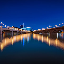 The Bridge. by Manaswini Sahoo - Landscapes Travel ( #reflection, #lake, #bridge, #night, #water, #travel, #landscape, #blue, #longexposure, #tempe, #tempe_town_lake, #sky, #lights )