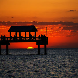 Snowbirds and a Sunset by Wendy  Walters - Buildings & Architecture Other Exteriors ( florida sunset, pier 60, clearwater sunset, clearwater florida pier 60, sailboat, clearwater florida )