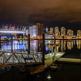 Across Burrard Inlet in Vancouver by Cory Bohnenkamp - City,  Street & Park  Skylines ( water, canada, long exposure, night, bc place stadium, docks, bc, vancouver, city )