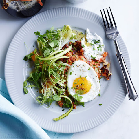 Breakfast Hash with Fried Eggs and Chive Sour Cream