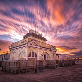 Sunset at St Kilda pier Melbourne by Glenn WS - Buildings & Architecture Public & Historical ( clouds, building, melbourne, sunset, harbour, pier, cloud, long exposure, sunrise, stkilda )