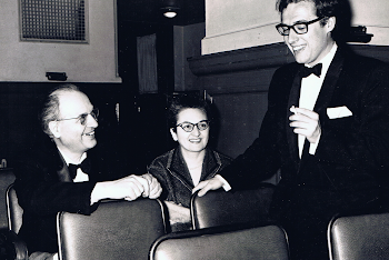 With Olivier Messiaen and Yvonne Loriod, Oxford Town Hall, 1967 (thank God the glasses and cigarette disappeared)