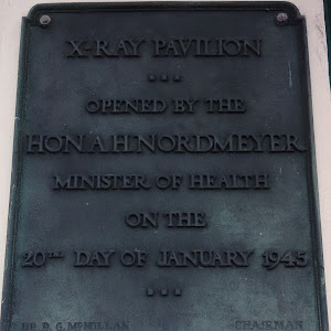 Transcription:X-Ray Pavilion...Opened by the Hon. A H. NordmeyerMinister of Healthon the 20th Day of January 1945...Dr. D. G. McMillan    ChairmanDr. James Thomson    SuperintendentA. Steel Esq.   ...